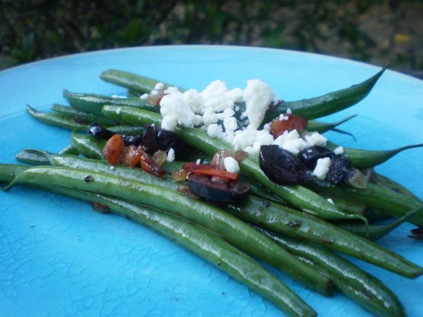 Greek Style Green Beans With Tomatoes and Feta Cheese