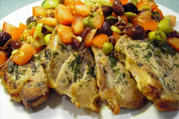 Turkey Cutlets with Tomato-Olive Relish