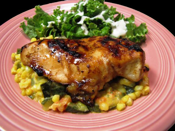 Pepper Jelly Glazed Chicken With Corn and Zucchini
