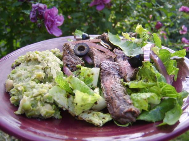 Balsamic Skirt Steak, Fresh Greens, Pea & White Bean Puree