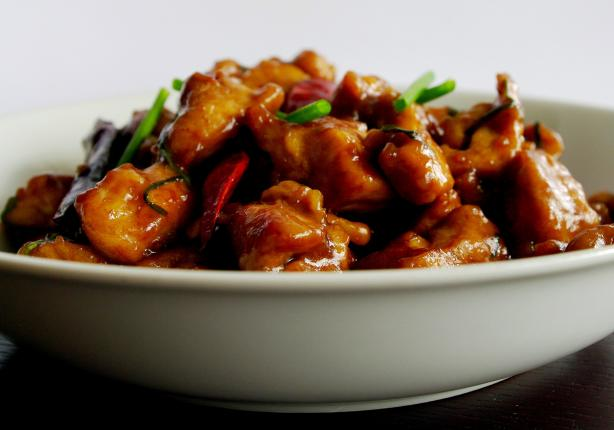 Smoky Hot Chicken Stir-Fried With Dried Red Chillies and Green G