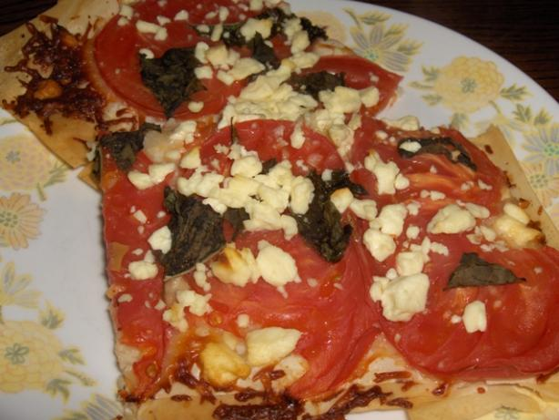 Phyllo Pizza With Fresh Tomatoes and Feta Cheese
