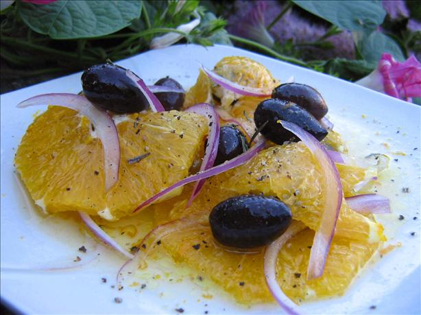 Orange, Red Onion, and Black Olive Salad