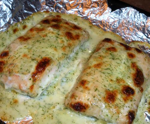 Oven Poached Salmon With Dill Sauce