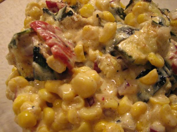 Curried Corn, Zucchini and Bell Pepper Salad
