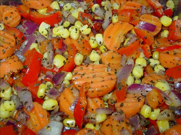Sauteed Corn, Carrots, Onion, and Red Bell Pepper