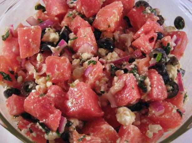 Watermelon, Feta, and Black Olive Salad