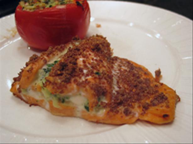 Salmon Stuffed W/Spinach Onion & Cheese