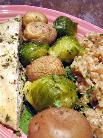 Microwave Steamed New Potatoes & Brussels Sprouts