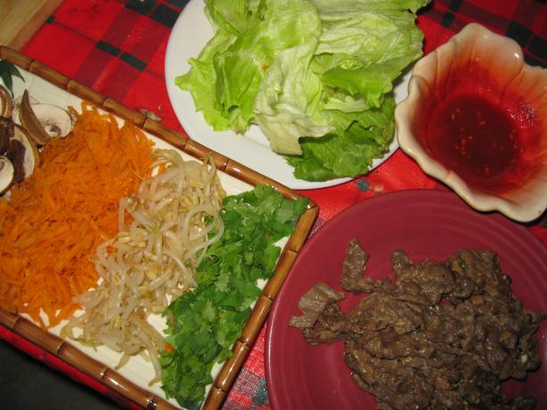 "Bulgogi ""fire Meat"" With Leafy Green Vegetables and Sw"