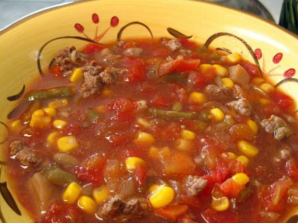 Hamburger Vegetable Soup - Crock Pot
