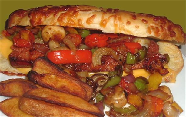 Smoked Sausage Pepper & Mushroom Wrap