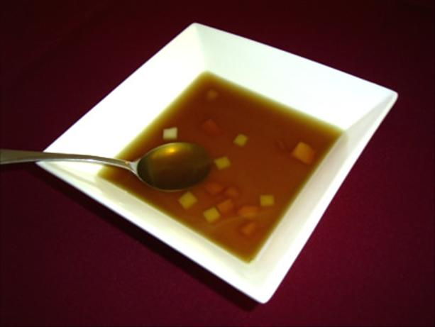 Light Beef Consommé With Diced Vegetables