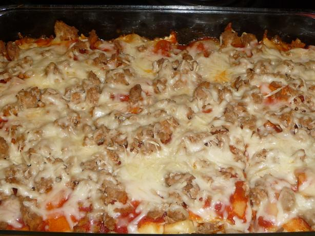 Do-Ahead Sausage Ravioli Casserole