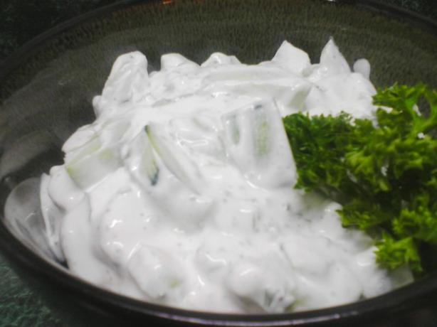 Cucumbers in Sour Cream (Low Fat or Non Fat)