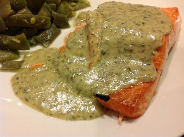 Salmon With Pesto Cream Sauce