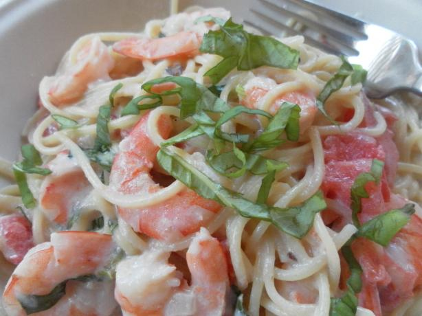Shrimp and Pasta in a Basil Cream Sauce