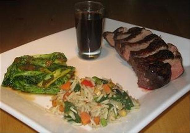 Duck Magret With Bok Choy and Vegetable Fried Rice