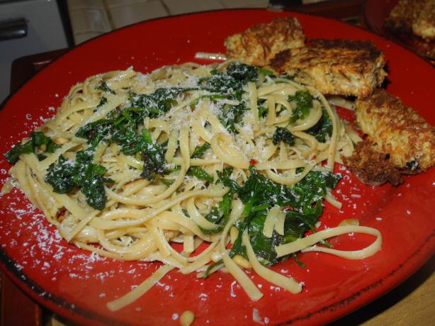 Whole Wheat Linguini With Spinach Basil and Pine Nuts