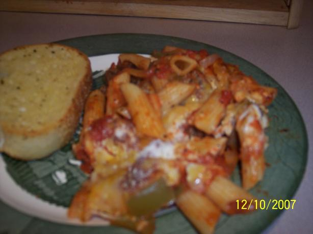 Perfect Potluck Dish Sausage and Pepper Baked Ziti