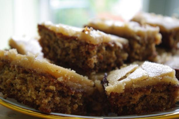 Banana Oatmeal Cake with Caramel Fudge Frosting