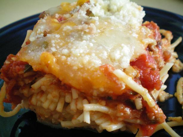 Spaghetti Crust Sausage Pizza Casserole