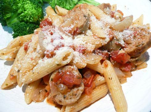 Penne With Italian Sausage, Tomato and Herbs