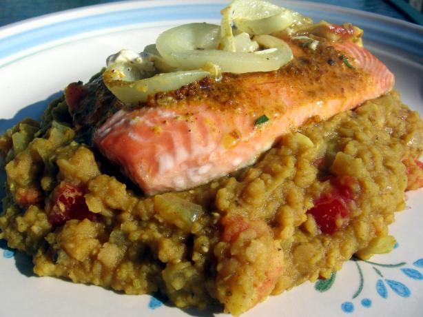 Golden Salmon on a Bed of Lentils