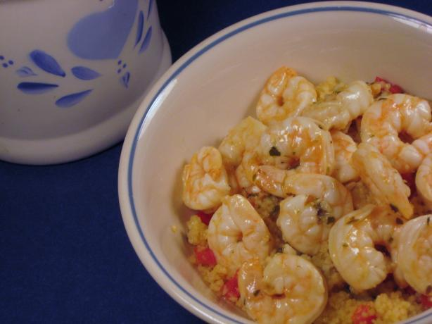Lemon Oregano Shrimp over Peppered Couscous