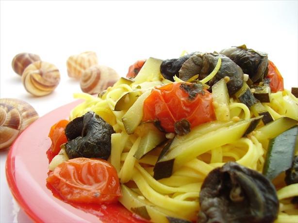 Saffron Tagliarini With Snails, Sorrel, Tomato, Zucchini