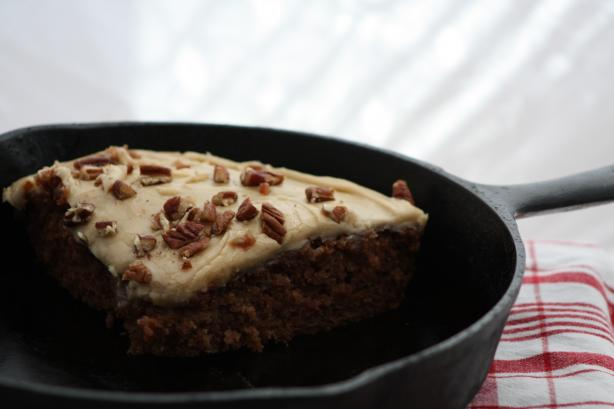Skillet Apple Cake With Caramel Frosting