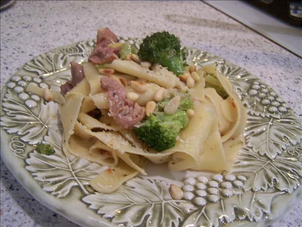 Pappardelle With Pancetta, Broccoli and Pine Nuts