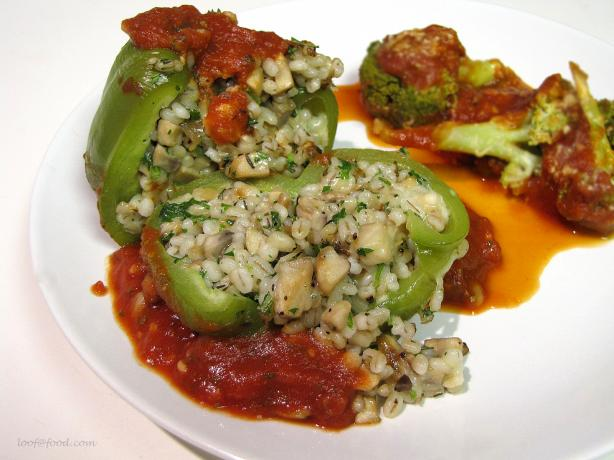 Barley & Mushroom Stuffed Green Bell Peppers