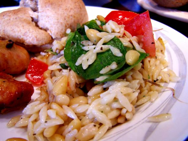 Elegant Orzo With Wilted Spinach, Feta and Pine Nuts