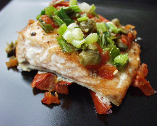 Salmon Fillets in Tomato Caper Sauce
