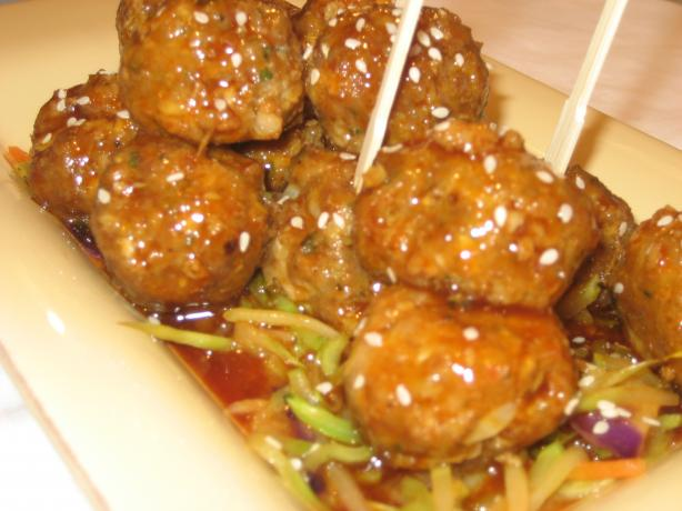 Meatballs in a Sweet 'n Spicy Asian Sauce With Warm Asian Slaw
