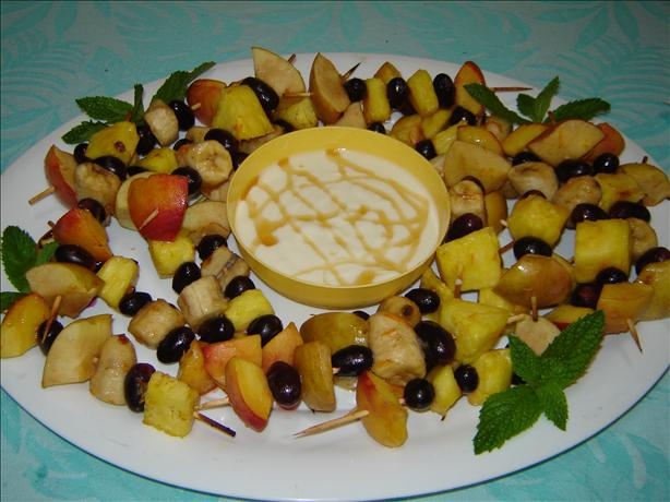 Fruit Kebabs With Yogurt and Honey Dip