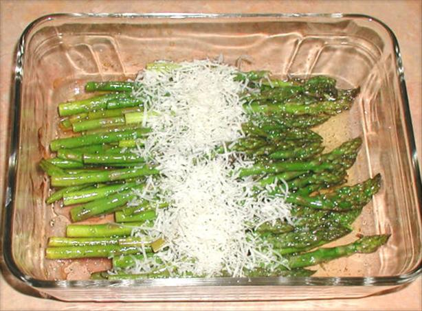 Balsamic Roasted Asparagus With Fleur De Sel and Parmesan