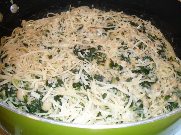 Angel Hair with Garlic Spinach and White Beans