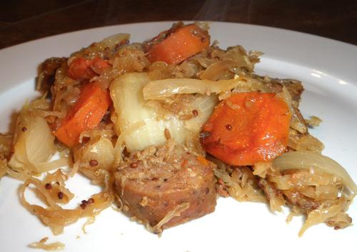Crock Pot Sausage and Sauerkraut Dinner