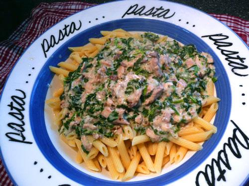 Salmon and Spinach Pasta