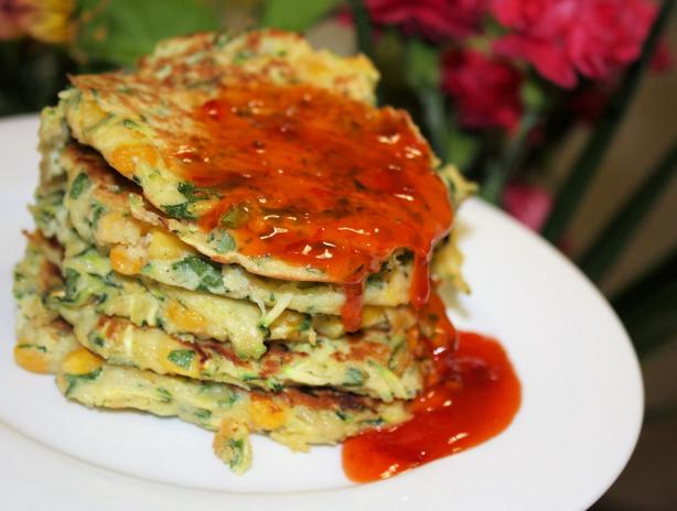 Zucchini,corn and Coriander Fritters