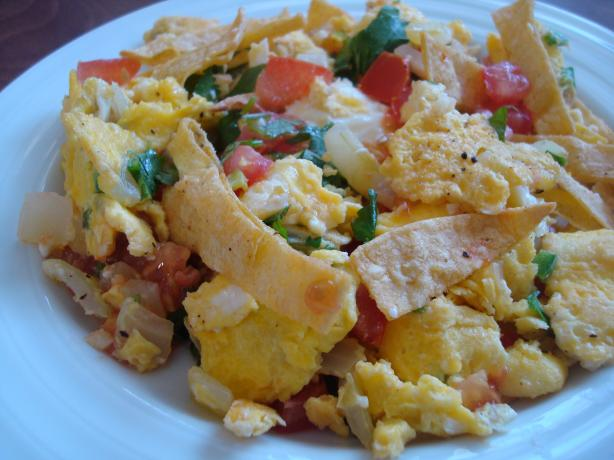 Mexican Eggs With Crispy Tortilla Slices