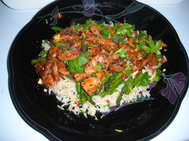 Lemon-Hoisin Glazed Chicken on Roasted Asparagus/Cherry Rice