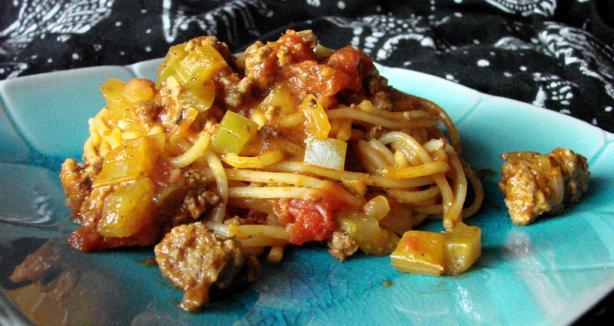 One Dish Savory Spaghetti