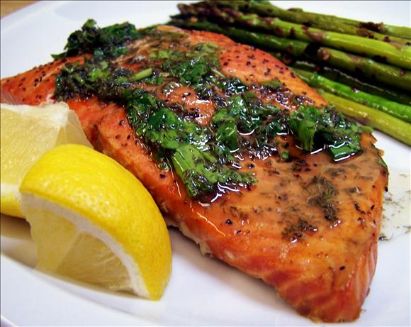 Grilled Cedar Plank Salmon With Lemon-Dill Topping