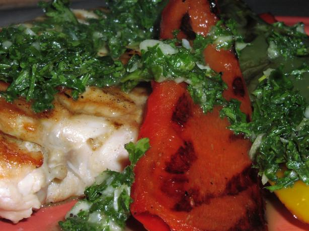 Grilled Chicken and Tri-Color Peppers With Chimichurri Sauce - W