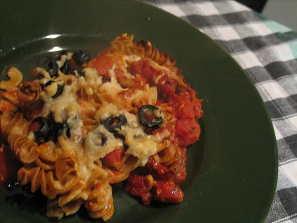Two-Cheese Mushroom, Chunky Tomato and Olive Penne Bake