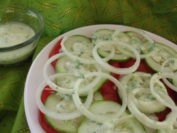 Tomato Cucumber Salad With Lemon Yogurt Dressing