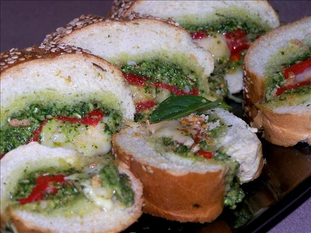 French Bread With Pesto and Peppers